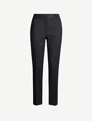 REISS Bree pinstriped tapered wool-blend trousers