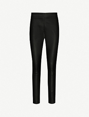 REISS Valerie skinny leather trousers