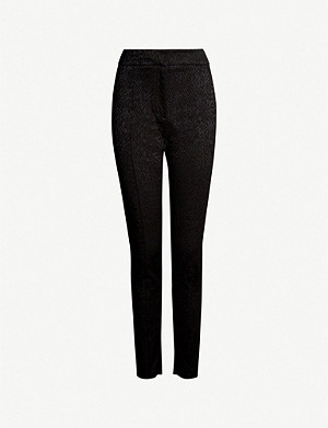REISS High-rise snake-jacquard trousers