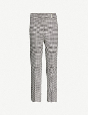REISS Arlo houndstooth-patterned tapered stretch-woven trousers