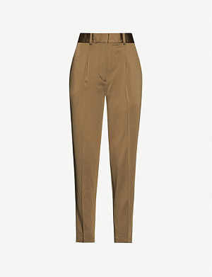 REISS Elyssa high-rise satin tapered trousers