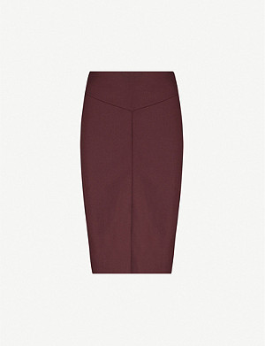 REISS Lissia wool-blend twill skirt