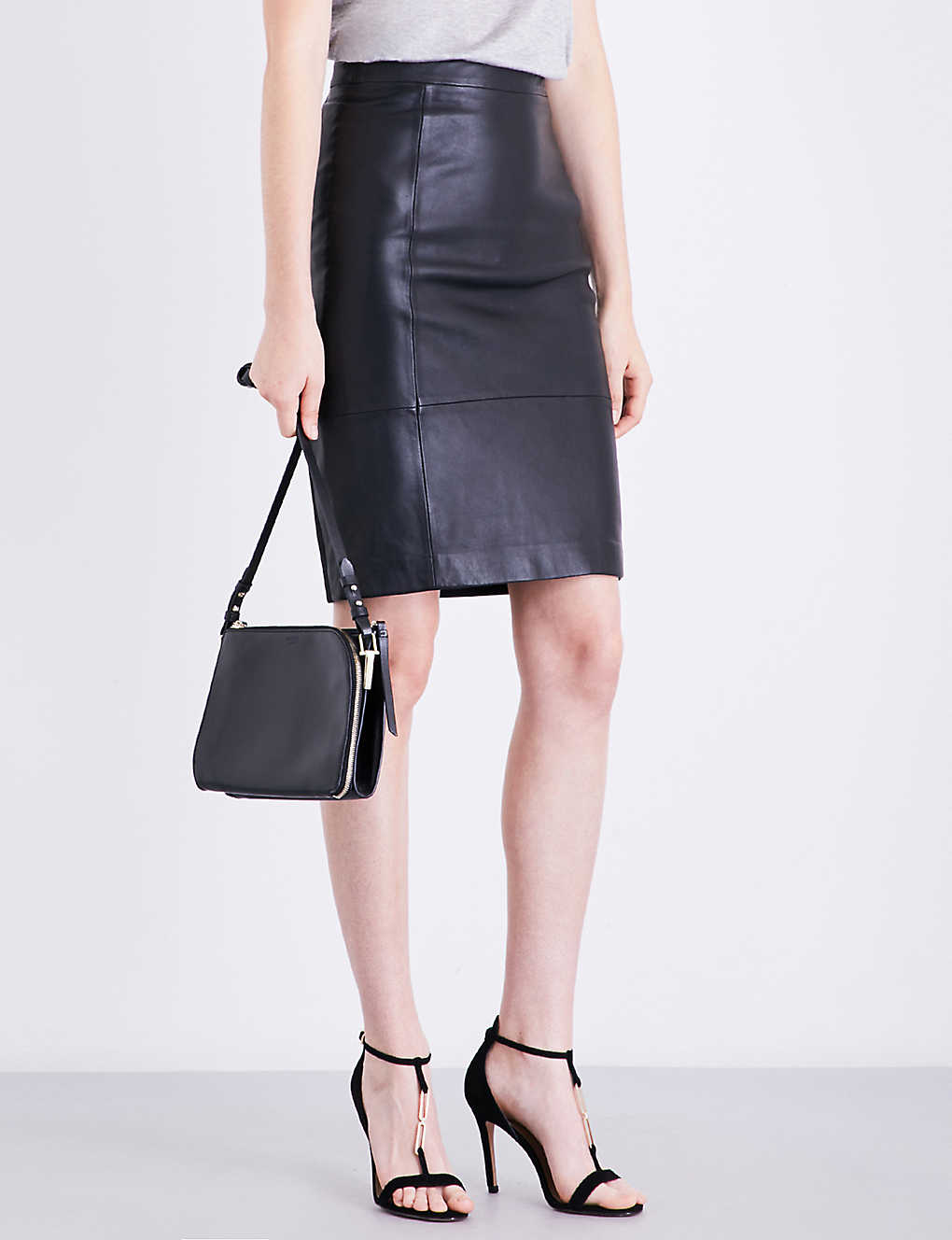 a8b6f6092f REISS - Olivia leather and ponte skirt | Selfridges.com