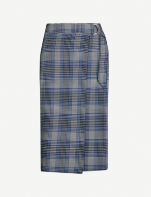 REISS Josie checked woven wrapover skirt