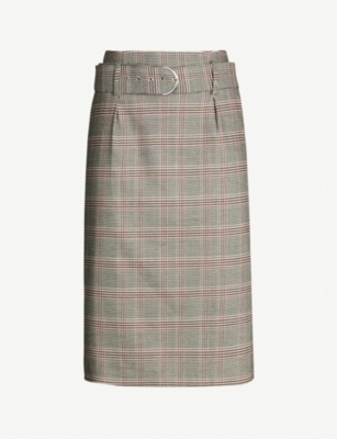 REISS Connie checked belted woven skirt