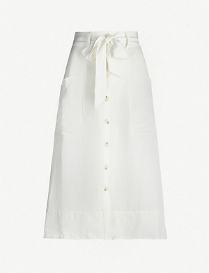 REISS Josephine button-front stretch-twill skirt