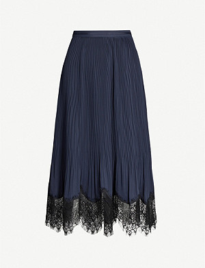 REISS Ania pleated crepe midi skirt