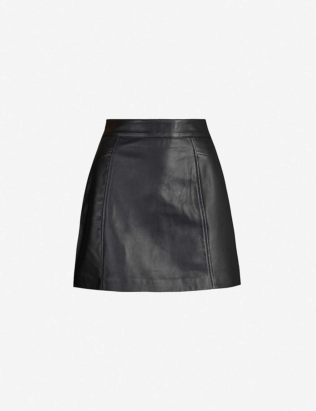 REISS: Arden leather mini skirt