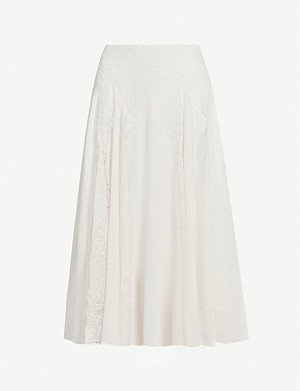 REISS Ultana lace-panel chiffon midi skirt