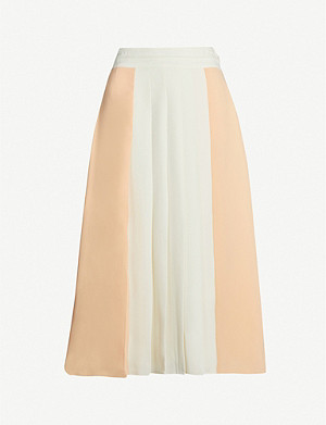 REISS Abigail pleated crepe midi skirt