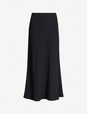 REISS Remy flared crepe midi skirt
