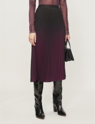 Marlie Pleated Midi Xcrepe Skirt by Reiss