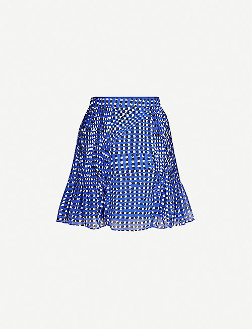 REISS Ellie spot-print crepe mini skirt