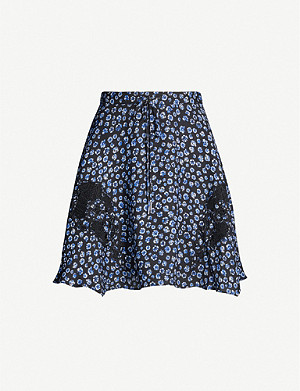 REISS Marcey floral-print crepe mini skirt