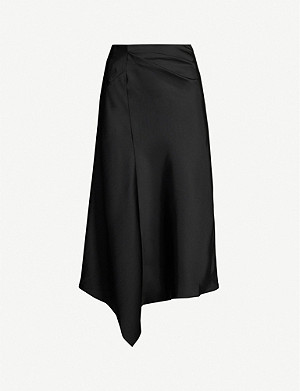 REISS Aspen high-rise satin midi skirt