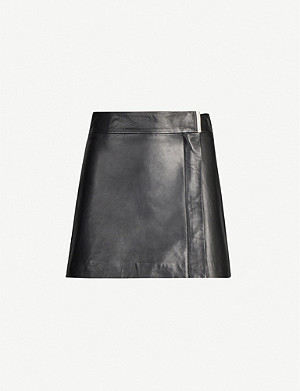 REISS Maxwell wrap-over leather mini skirt