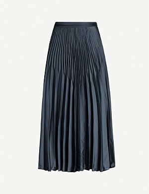 REISS Dora knife-pleat midi skirt