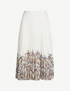 REISS Isidora graphic-print midi skirt