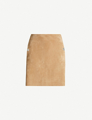 REISS Pippa embellished suede mini skirt