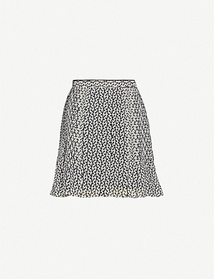 REISS Ellie pleated crepe mini skirt