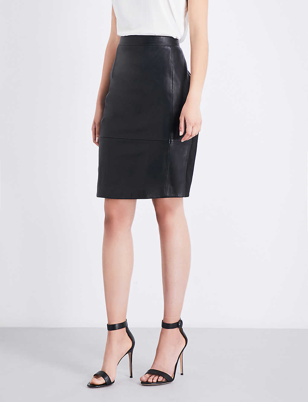 8b41b0ae19 REISS - Avril high-rise leather and ponte skirt | Selfridges.com