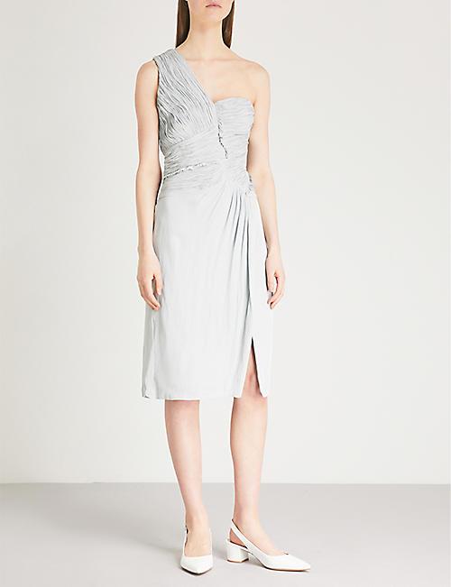 302ec0e3dd REISS - Abby one-shoulder pleat-detail dress   Selfridges.com