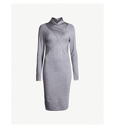 REISS - Alethia crossover neckline metallic-knitted dress ... 13e52b2f9