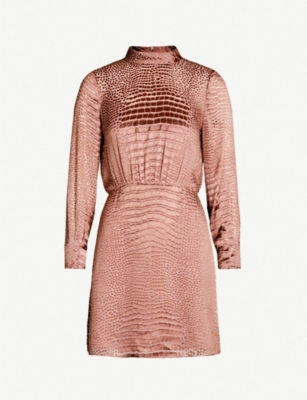REISS Emma snakeskin-devoré silk-blend dress