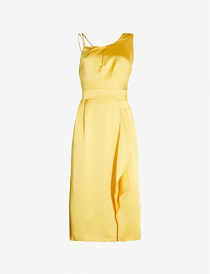 REISS Sara ruffled satin dress