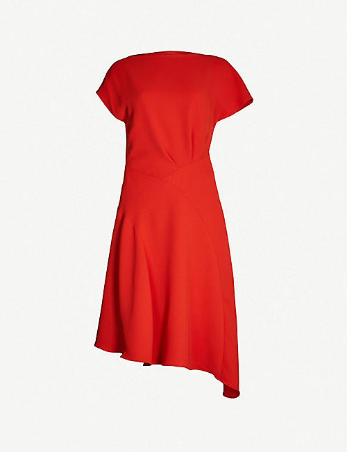 REISS Victoria asymmetric-hem crepe dress