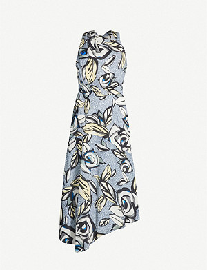 REISS Rose asymmetric floral-print crepe midi dress
