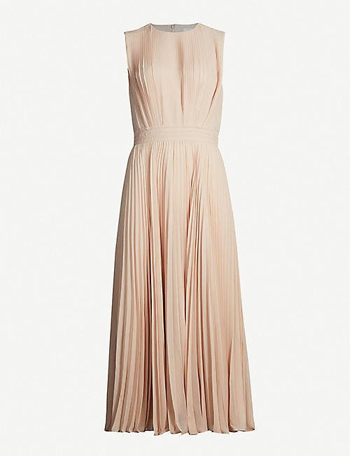 REISS Pandora pleated crepe midi dress