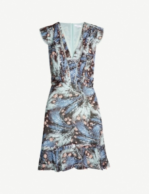 REISS Bertie floral-print tiered-hem crepe dress