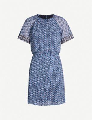REISS Heidi graphic-pattern ruched crepe dress