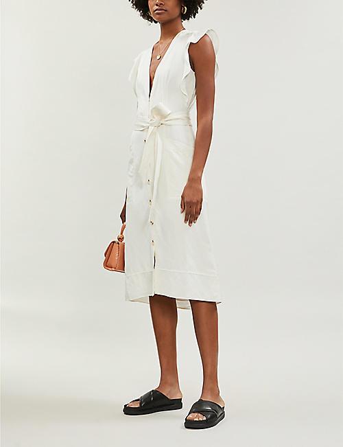 2021a4dea0 REISS Enid button-through linen midi dress