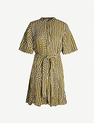 REISS Ottoline spot-print crepe mini dress