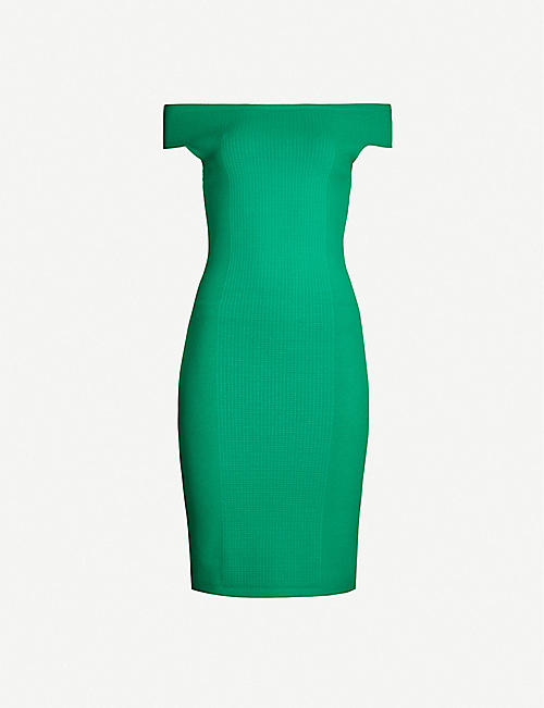 REISS Pippa textured knitted midi dress
