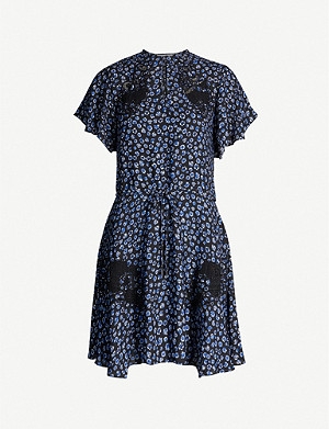 REISS Amalia floral-print crepe mini dress