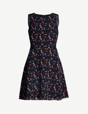 REISS Louise fit-and-flare lace and crepe dress