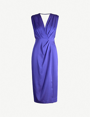 REISS Elaini plunge-back crepe dress