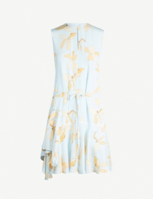 REISS Sienna floral-print crepe dress