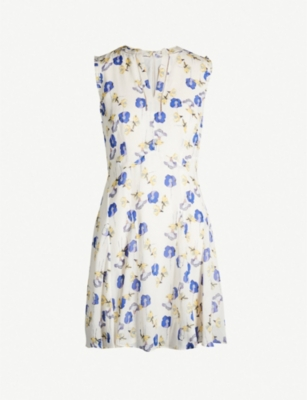 REISS Mika floral-print flared woven dress