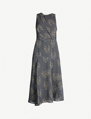 REISS Naima mesh-print chiffon dress