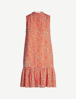 REISS Nia spot-print shift chiffon dress