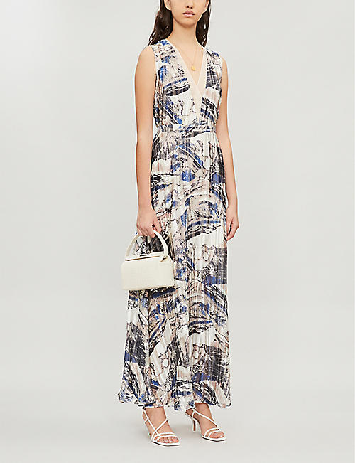 REISS Alix abstract-print crepe dress