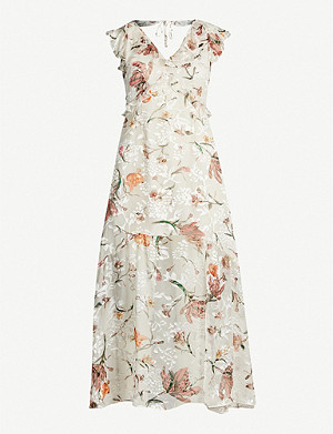 REISS Leila burnout floral-print devoré midi dress