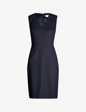 REISS Hartley V-neck wool-blend hopsack mini dress