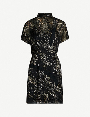 REISS Amelia polka dot chiffon mini dress