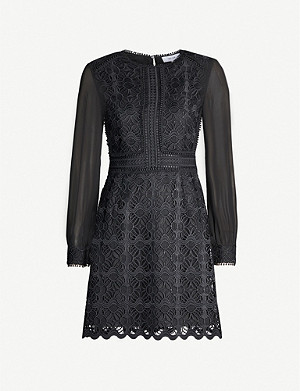 REISS Aria guipure lace and crepe mini dress