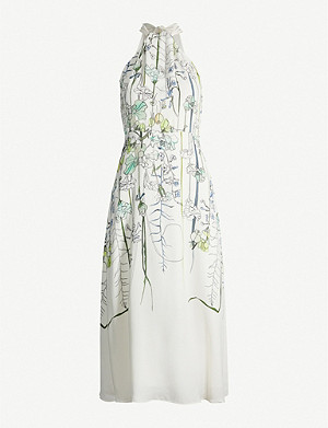 REISS Kayla floral-print crepe dress